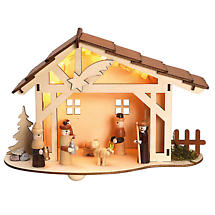 Lighted Woodland Nativity Scene