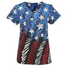 Ladies Sketched Flag T-Shirt American Flag V-Neck