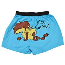 Nice Cheeks Funny Boxers with Squirrels in Cotton with Elastic Waist