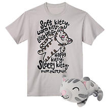 Big Bang Theory Soft Kitty Gift Set 100% Cotton Men's Grey T-Shirt and Plush