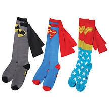 DC Comics Gift Pack Set of 3 Caped Women's Socks Wonder Woman Batman Super Man