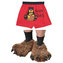 Great Outdoors Bear Gift Set 100% Cotton Men's Boxers and Bear Paw Slippers