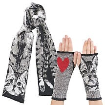 Cotton Blend Cat Scarf and Fingerless Meow Mittens Set