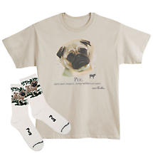 Pug Dog Breed Cotton T-Shirt and Mens Cotton Blend Socks Sets