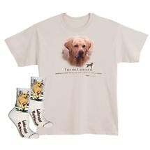 Yellow Labrador Dog Breed Cotton T-Shirt and Mens Cotton Blend Socks Sets