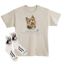 Yorkie Dog Breed Cotton T-Shirt and Mens Cotton Blend Socks Sets