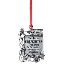 Pewter Firefighter Occupational Ornament