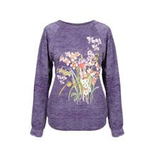 Ladies Orchid And Frogs Garden Scene Sweatshirt
