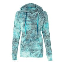 Tie Dye Bahama Blue Ladies Burnout Hooded Sweatshirts