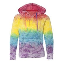 Tie Dye Rainbow Stripe Ladies Burnout Hooded Sweatshirts