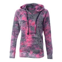 Tie Dye Rasberry Swirl Ladies Burnout Hooded Sweatshirts