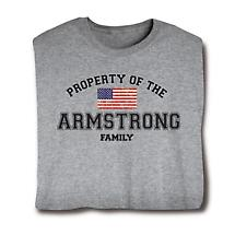 """Personalized Property of """"Your Name"""" Family US Flag Patriotic Shirt"""