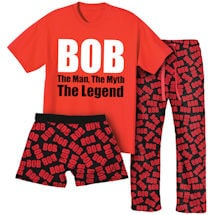 Bob Sleepware Gift Set With 1 Pair Of Lounge Pants, Boxers & Bob The Man The Myth The Legend T-Shirt