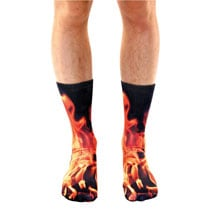 Sublimated Men's Crew Socks- Flame
