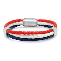 Leather Heritage Flag Bracelets- USA