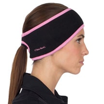 Fleece Ponytail Headbands - Black with Pink