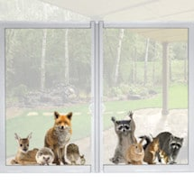 Woodland Animals Window Cling - Racoon & Friends