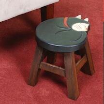 Tuxedo Cat Wooden Stool