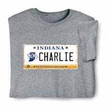 Personalized State License Plate Shirts - Indiana