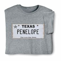 Personalized State License Plate Shirts - Texas