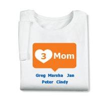 Personalized Orange Mom's Heart Mom T-shirt