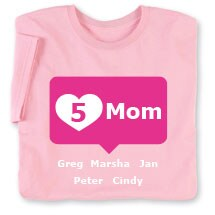 Personalized Pink Mom's Heart Mom T-shirt