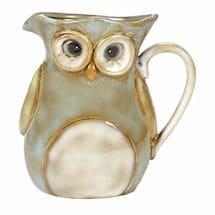 Glazed Stoneware Owl Natural Pitcher