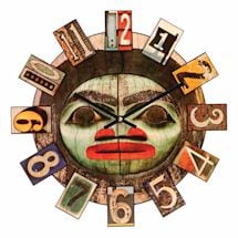 Tiki Totem Face Wall Clock