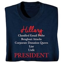 Hillary Unfit President - Funny Presidential Election T-shirt