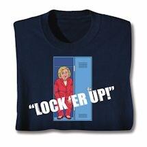 "Funny Hillary ""Locker Up"" Navy Blue Shirt"