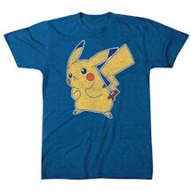 Pokemon Pikachu Battle Pose Blue T-Shirt