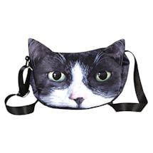 Sublimated Cat Face Hobo Bag - Tuxedo