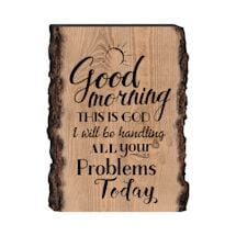 Good Morning Rustic Bark Wall Plaque