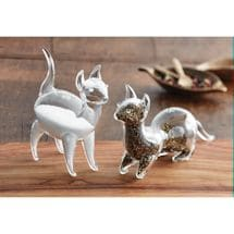 Glass Cat Salt & Pepper Shakers