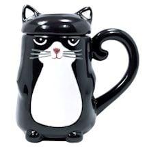 Tuxedo Cat Lidded Mug