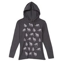 Stretching Cats Ladies' Hooded Long Sleeve