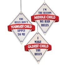 Rules Oldest, Middle, Youngest Ornament Set