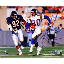 Cris Carter Running vs. Bears Defender 8x10 Photo w/ HOF Insc.
