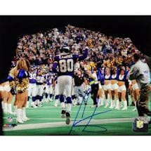 Cris Carter Signed Coming Out Of The Tunnel Pointing Back View 16x20 Photo w/ HOF insc