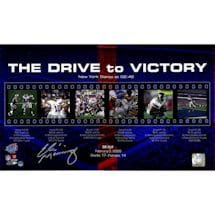 "Eli Manning Signed Giants ""The Drive to Victory"" Filmstrip Collage 10x17 Photo"