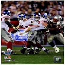 Eli Manning Signed SB XLII Escaping Tackle Vertical 8x10 Photo