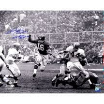 Frank Gifford Signed 16x20 Running B/W With HOF, 8 Time Pro Bowl, NYG 52-64 LE/77