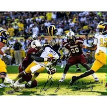 "Jadeveon Clowney Hit vs. Michigan Signed 16x20 Photo w/ ""The Hit Heard Round The World"" Insc."
