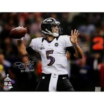 "Joe Flacco Throwing Ball During Super Bowl XLVII 16x20 Photo w/ '""'SB XLVII MVP'""' insc (PF)"