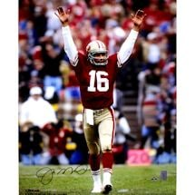Joe Montana Touchdown Signal Signed 16x20 Photo Signed in Blue