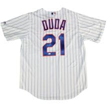 Lucas Duda Signed New York Mets Home Pinstripe Replica Jersey (MLB Auth)