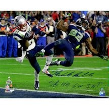 "Malcolm Butler Signed Metallic Superbowl 49 INT 16x20 Photo w/ ""GW INT SB 49"" insc. (LE/149)"