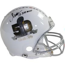 "Marcus Allen Signed Riddell Superbowl on the 50 White Authentic Helmet w/ ""SB XVIII MVP"" Insc (Signed in Black)"