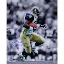 "Marshall Faulk Rams Rushing Black/White Background Vertical 16x20 Photo w/ ""HOF 20XI"" Insc."