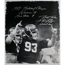 Marty Lyons Signed B/W 22x26 Canvas w/ 1979 National Championship, CFHOF 2011 Insc